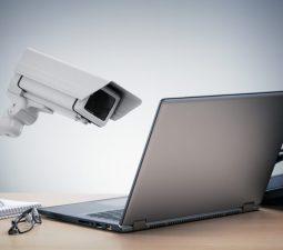 surveillance camera and laptop