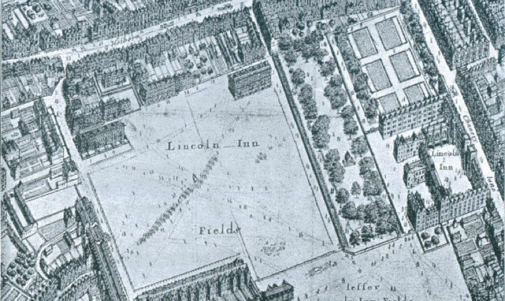 Extract from map by Wenceslaus Hollar 1650 (Lincoln's Inn)